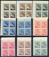 CZECHOSLOVAKIA 1945 Prague Definitive In Blocks Of 4 MNH / **.  Michel 424-32 - Czechoslovakia
