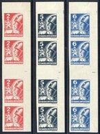 CZECHOSLOVAKIA 1945 1st Kosice Issue Gutter Pairs **/*.  Michel 408-10 ZS - Czechoslovakia