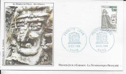 75.- PARIS .- Le Temple De Tikal Guatemala   1986  Premier Jour D' émission - 1960-1969