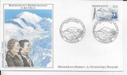 74.- CHAMONIX .- Bicentenaire De La Première Ascencion Du Mont-Blanc    1986 Premier Jour D' émission - FDC