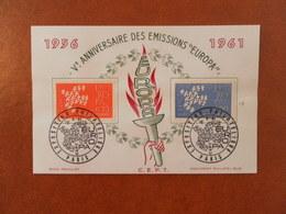 FRANCE SOUVENIR 5ème ANNIVERSAIRE EMISSIONS EUROPA - PARIS - Curiosidades: 1960-69 Cartas