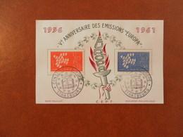 FRANCE SOUVENIR 5ème ANNIVERSAIRE EMISSIONS EUROPA - STRASBOURG - Curiosidades: 1960-69 Cartas