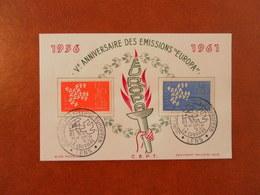 FRANCE SOUVENIR 5ème ANNIVERSAIRE EMISSIONS EUROPA - LENS - Curiosidades: 1960-69 Cartas
