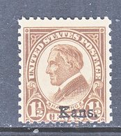 U.S.  659    **    KANSAS  OVPT.   1929  Issue - United States