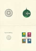 J174-J177 / 664-667 Pro Juventute 1958 Auf Ausstellungsfaltblatt Zur Eröffnunf Der 1. Schweiz. Gartenbau-Ausstellung - Lettres & Documents