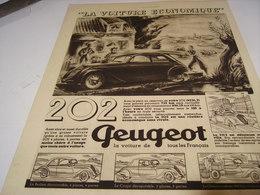 ANCIENNE PUBLICITE VOITURE 202  PEUGEOT  1938 - Voitures