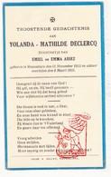 DP Kind - Yolande Math. DeClercq / Assez ° Roeselare 1933 † 1935 - Images Religieuses