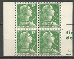 PAIRE HORIZONTAL DE CARNET TYPE MARIANNE DE MULLER N° 1010d NEUF** LUXE SANS CHARNIERE / MNH - 1955- Marianne De Muller