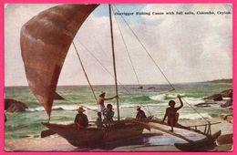 Colombo - Outrigger Fishing Canoe With Full Sails - Animée - PLATE Ltd N° 77 - Colorisée - Sri Lanka (Ceylon)