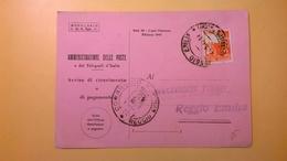 1947 AVVISO DI RICEVIMENTO O PAGAMENTO BOLLO SERIE DEMOCRATICA 4 LIRE - 6. 1946-.. Republik