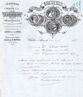 CHALON SUR SAONE FACTURE ILLUSTREE DU 05/07/1889 VERRERIES DE CHALON H AUPECLE BOUTEILLES RECUITES AU BOIS - France