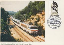 Carte  FRANCE  Electrification   Ligne  Ferroviaire    PARIS - NEVERS    1988 - Trenes