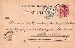 88Fo  Carte Postale Entier 1890 Frankfurt Joh. Conrad Mack Rankfurter Gold & Silver M. à Messageries Maritimes Marseille - Vari