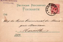 88Fo  Carte Postale Entier 1890 Hamburg Alfred Scheele à Messageries Maritimes Marseille - Vari