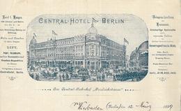 Allemagne - Berlin - Entête Du 12 Mars 1899 - Central Hôtel Berlin - Germany
