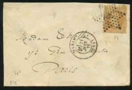 PARIS : Pli Avec 10c EMPIRE Lauré Oblt Etoile 6 P1 + CàDate PARIS SENAT  > PARIS - 1849-1876: Période Classique