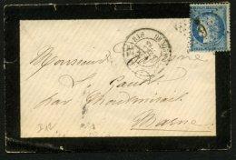 PARIS : Pli Avec 25c Céres Dentelé Oblt Etoile 6 P2 + CàDate PARIS PAL. DU LUXEMBOURG  > MONTMIRAIL - 1849-1876: Période Classique
