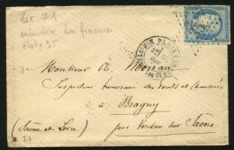 PARIS : Pli Avec 25c Céres Dentelé Oblt Etoile 35 + CàDate PARIS MINISTERE DES FINANCES  > BRAGNY - 1849-1876: Période Classique
