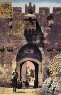 Illustrateur JERUSALEM Porte De St Etienne + Timbre 30c Surchargé O.M.F.Syrie 1.50 Piastre RV - Israel