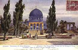 Illustrateur Signé JERUSALEM Place Du Temple Avec La Mosquée D'Omar    + Timbre 20cSurchargé O.M.F.Syrie 1. Piastre RV - Israel