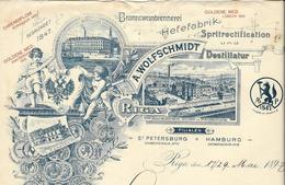 Lettonie Riga/St Petersburg Entête 1897  A.Wolfschmidt. Branntweinbrennere Hefefabrik Spritrectification Und Destillatur - Factures & Documents Commerciaux