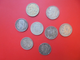 LOT 8 MONNAIES DE 5 FRANCS ARGENT BELGIQUE-FRANCE ETAT MOYEN - Monete & Banconote
