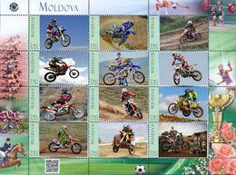 Moldova 2017, Sport, Motocycles, Sheetlet Of 12v - Moldavia