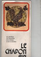 Menu Le Chapon Fin Thoissey Restaurant Paul Blanc Broyer Beaujolais Bresse Dombes Rare - Menus