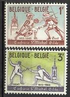 """PIA  - BELGIO -  1963 : 350° Ann. Della """"Gilda Gandese Degli Schermitori Di St. Michel""""  -   (SAS  1246-48) - Scherma"""