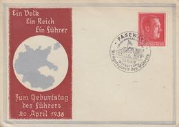 Enveloppe  FDC  1er  Jour   ALLEMAGNE   49éme  Anniversaire  Du  Führer  PASEWALK   20  Avril  1938 - Briefe U. Dokumente