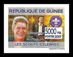 Guinee Harrison Ford Paul McCartney Beatles Scouts Logo Scouting 1v IMPERF Stamp - Non Classificati