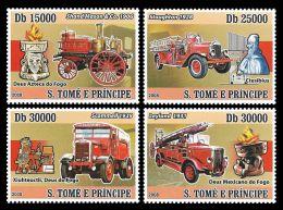 Sao Tome Fire Engine Fride Brigade Car Transport 4v Set Michel:3549-3552 - Non Classificati