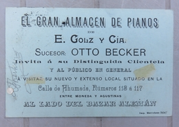 SANTIAGO - El Gran Almacen De Pianos - E.GOUZ Y Cia - OTTO BECKER - Invitation - Piano - - Chile