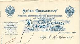 Lettonie - Riga - Entête 1901 - A.Wolfschmidt -Actien-Gesellschaft Der Hefefabrik Branntweinbrennerei Spritrectification - Factures & Documents Commerciaux