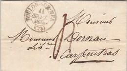 Lettre Cachet TOULON Sur MER Var 11/9/1835  Taxe Manuscrite Pour Carpentras Vaucluse - Storia Postale