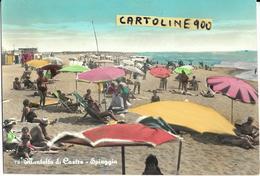 Lazio-viterbo-montalto Di Castro Spiaggia Veduta Animatissima Anni 50/60 Bagnanti Ombrelloni Mare Cabine - Italie