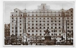 (RECTO / VERSO) LEEDS EN 1950 - CITY SQUARE - FORMAT CPA VOYAGEE - Leeds