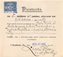 POISTENKA SLOV.LIGA-SLOVENSKY BRAT.OBJIM SI MAT-V BRADDOCK PA 1911 33300 - Invoices & Commercial Documents
