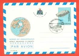 AVIAZIONE-DIRIGIBILI-SAN MARINO - 60° ANNIVERSARIO NORGE-NOBILE-AMUNDSEN-ELLSWORTH--airships- MARCOFILIA - Interi Postali