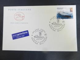 7b) FRANCOBOLLO PORTAEREI CAVOUR MARINA MILITARE BUSTA GIORNO EMISSIONE - 6. 1946-.. Repubblica
