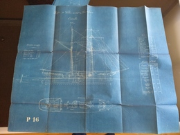 LOTE 3 PLANOS  PORT EN LOURD    Sailboat Blueprint Bateau Navire  Plans D'ensemble Planobarco - Disegno Tecnico