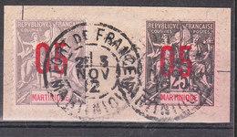 MARTINIQUE YT 78 ET 79  Oblitéré 3 NOV 1912 FORT DE FRANCE - Martinique (1886-1947)