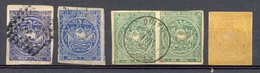 Equateur - 1865/1872 - YT Nº 1 (2 Ex.) - Nº 2 (2ex.) Se-tenant - Nº 3 - Obl. - Equateur
