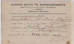 AGENCE  BELGE  DE  RENSEIGNEMENTS  VERVIERS - Belgien