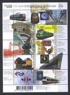 Niederlande Klb. '175 J. Eisenbahn, Uhren' / Netherlands Sh. '175th Ann. Of Railways, Clocks' **/MNH 2014 - Eisenbahnen