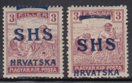 Yugoslavia - SHS - Issue For Croatia 1918 Definitive, Error - Moved Overprint, First Stamp MNH (**) Second Stamp MH (*) - Croatie