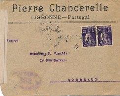 Lettre Lisbonne Pour La France Censure Télégraphes - 1910-... République