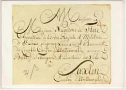CP SUISSE LETTRE DATANT DE 1786 ADRESSÉE À NIKODEMUS VON FLUE, À SAXLEN, - Timbres (représentations)