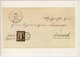 CP SUISSE  Lettre Datant De 1843 Revètue D'un (4 De Zurich ), Le Premier Timbre Suisse - Timbres (représentations)