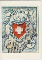 CP SUISSE  RAYON I  Avec Croix Encadrée 1851 - Timbres (représentations)